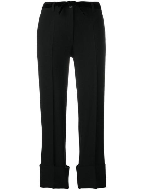 ANN DEMEULEMEESTER cropped women spandex cotton black wool pants
