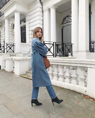 coat tumblr blue coat long coat all blue denim jeans blue jeans boots black boots bag brown bag