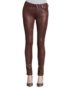 7 For All Mankind Leather-Like Skinny Jeans, Wine - Neiman Marcus