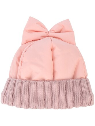 bow beanie purple pink hat