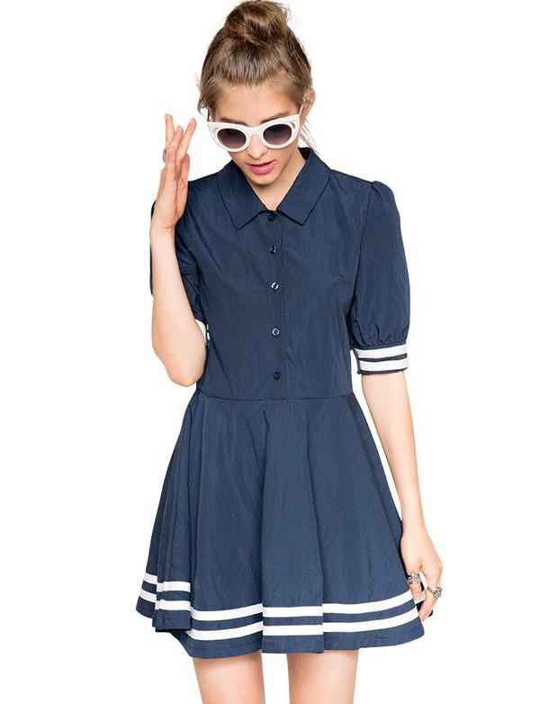 Mod Sailor Navy Dress - Stripe Shirt Dress
