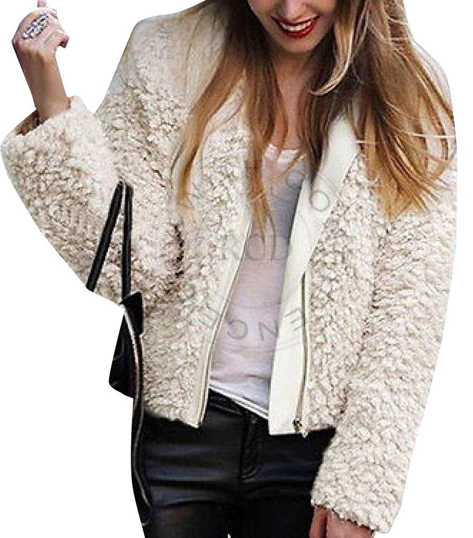 Winter casual womens warm plush fuzzy short coat jacket overcoat zipper at amazon women's clothing store: