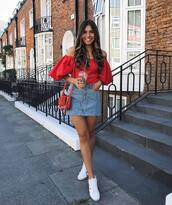 skirt,denim,denim skirt,top,crop tops,red top,sunglasses,shoes,bag,off the shoulder