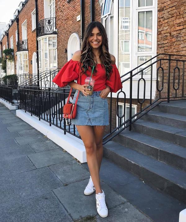 skirt denim denim skirt top crop tops red top sunglasses shoes bag off the shoulder