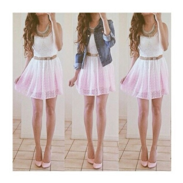 cute dress pink dress white dress dress back to school student dress weheartit lovely pink ombre lace ombre dress clothes pink white belt helpppppppp white to pink cute outfits gradient rose rose dress girly denim jacket denim summer dress blouse
