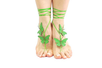 shoes green barefoot sandals sandals ankle boots anklet butterfly