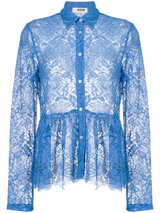 blouse women lace cotton blue top