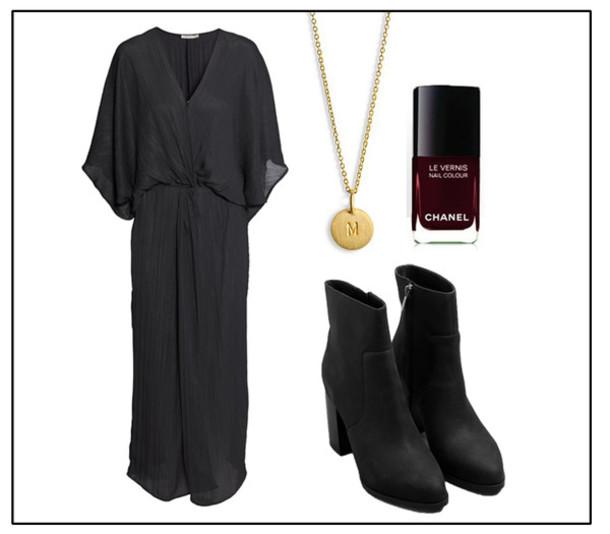 josefin dahlberg blogger black dress nail polish pendant dress pants shoes