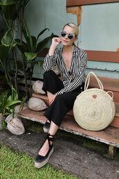 bag,tumblr,round tote,tote bag,shirt,stripes,striped shirt,pants,black pants,espadrilles,black shoes,wedges,wedge sandals,sunglasses,shoes,le fashion image,blogger