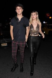 top,pants,crop tops,metallic,nicola peltz,anwar hadid,menswear,mens t-shirt,mens pants