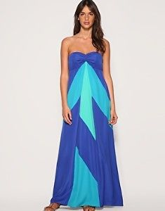 Coast Isis Blue Colour Block Strapless Maxi dress 10 Worn Once - Holiday Wedding | eBay