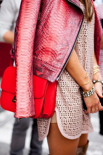 jacket leather jacket snake snake skin print crocodille pink leather red purple snake print texture crocodile spring jacket bag tumblr red bag pink jacket dress nude dress mesh dress mesh bracelets accessories jewels jewelry