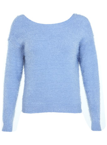 Bow V-Back Fluffy Jumper - Knitwear  - Clothing  - Miss Selfridge