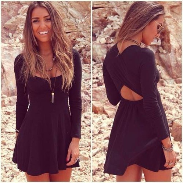 dress black beautyful long slevees