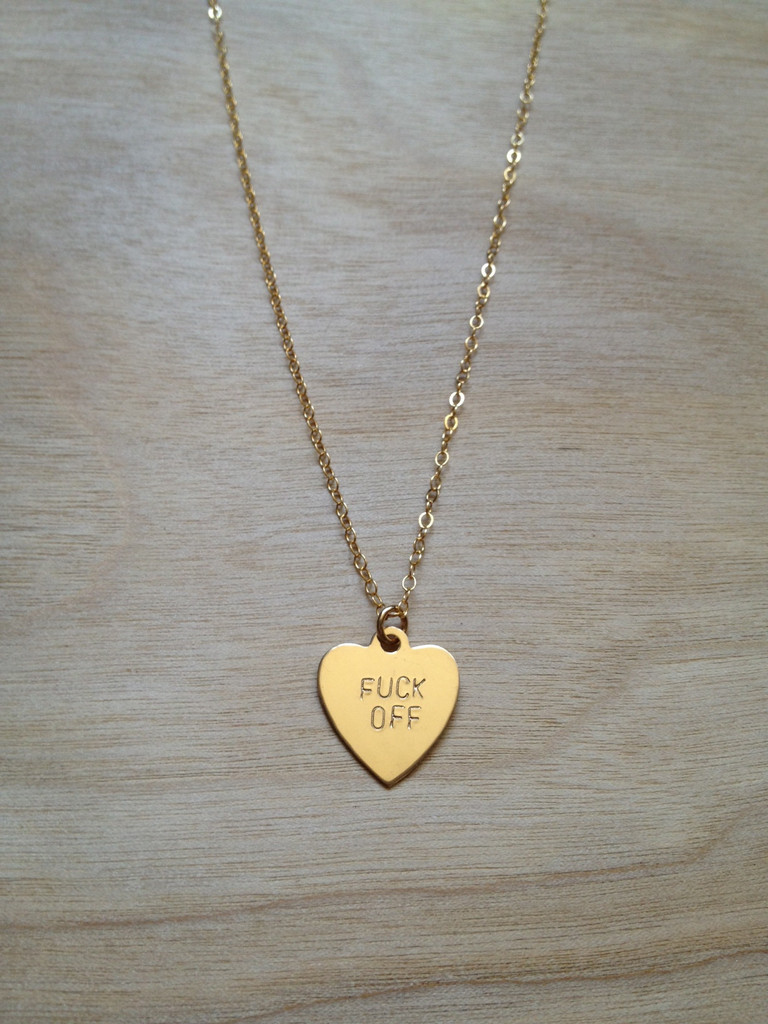 FUCK OFF Heart Necklace