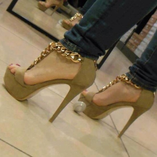 shoes high heels gold chain green