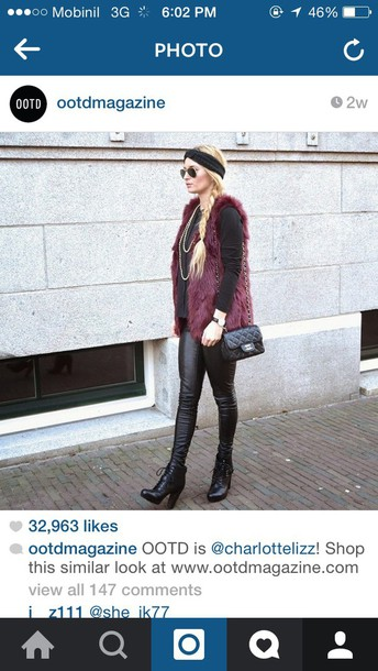 cardigan fur gilet burgundy