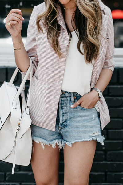 the teacher diva blogger jacket shorts jewels shoes bag tank top sunglasses dress