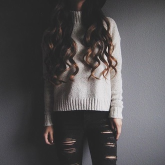 sweater ripped jeans
