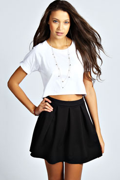 Tianna Box Pleat Colour Pop Skater Skirt at boohoo.com