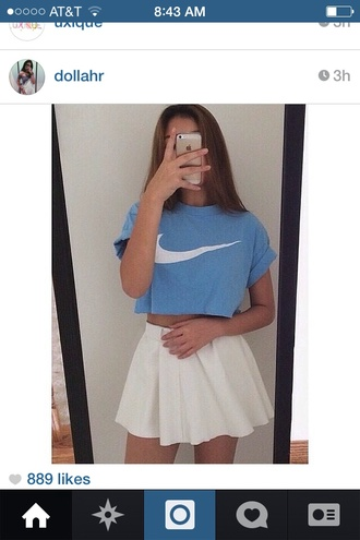 nike crop tops crops blue nike swoosh skirts and tops high waisted skirt white white skirt skirt