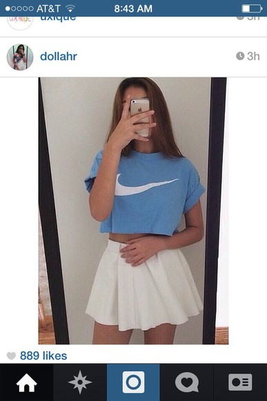 white white skirt nike crop tops crops blue nike swoosh skirts and tops high waisted skirt