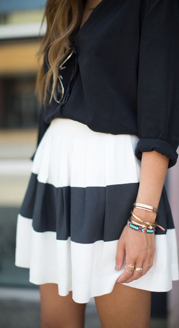 skirt black white elegant classic skater skirt stripes striped skirt navy sweater blue skirt blue