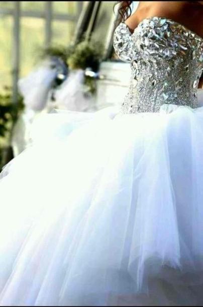 White quinceanera dresses with rhinestones