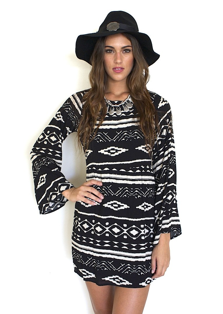 Black and White Tribal Print Open Back Dress