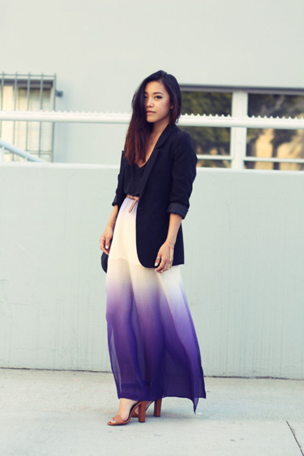 dress ombre dress ombre white dress violet maxi dress maxi skirt