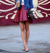 skirt,wet look,wine red,faux leather,pleated skirt,skater skirt