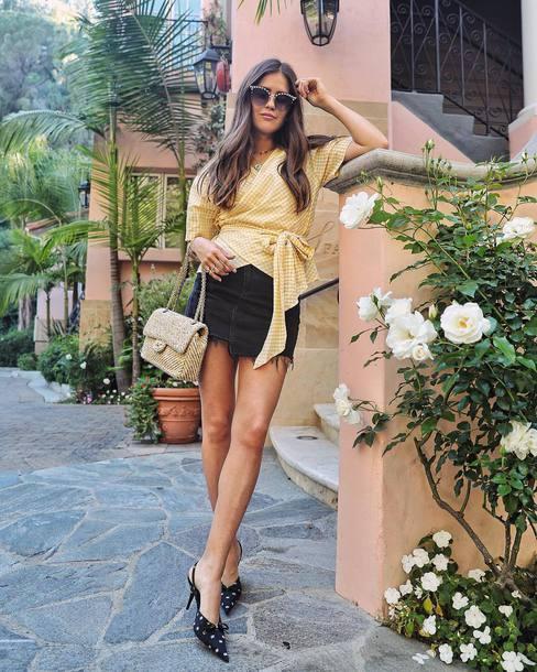 skirt black skirt top yellow tops sandalss shoes