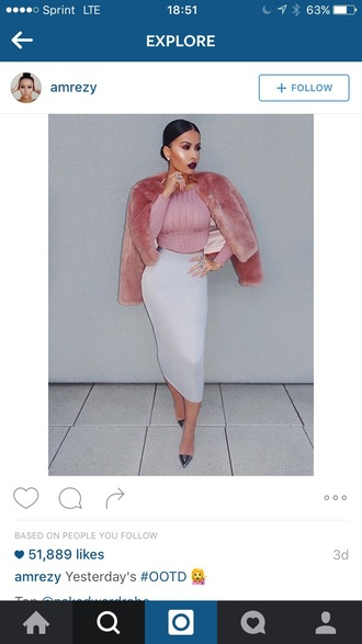 jacket fur coat pencil skirt shoes crop tops pink winter outfits light pink pastel pink coat pink coat
