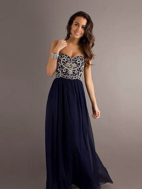 dress prom dress navy jewels embellished long dress gown