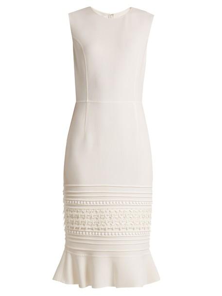 oscar de la renta dress embroidered lace wool cream