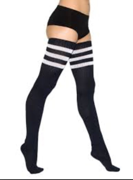 socks up to the butt black and white knee high socks thigh cute bold girly thigh highs black thigh high socks knee high socks everygirlneeds