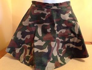 Forever 21 Sz Large Camo Army Print Skater Mini Skirt Green Multi | eBay