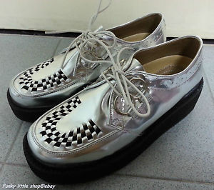 "2"" Lace Up Silver Unisex Creepers Punk Rock Emo Platform Shoes 6106 EUR 35 45 