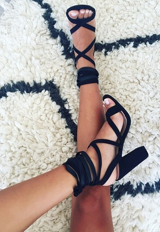 shoes black strappy heels high heels straps