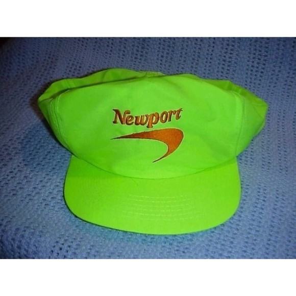 hat cap highlighteryellow newportcigarreteslogo early90s freshprincestyle