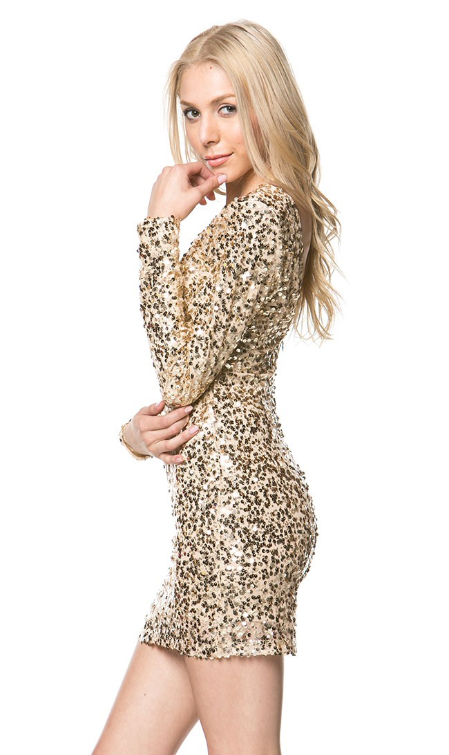 ab6db3915a5e Long Sleeve Sequin Mini Dress with Sheer Insert in Gold