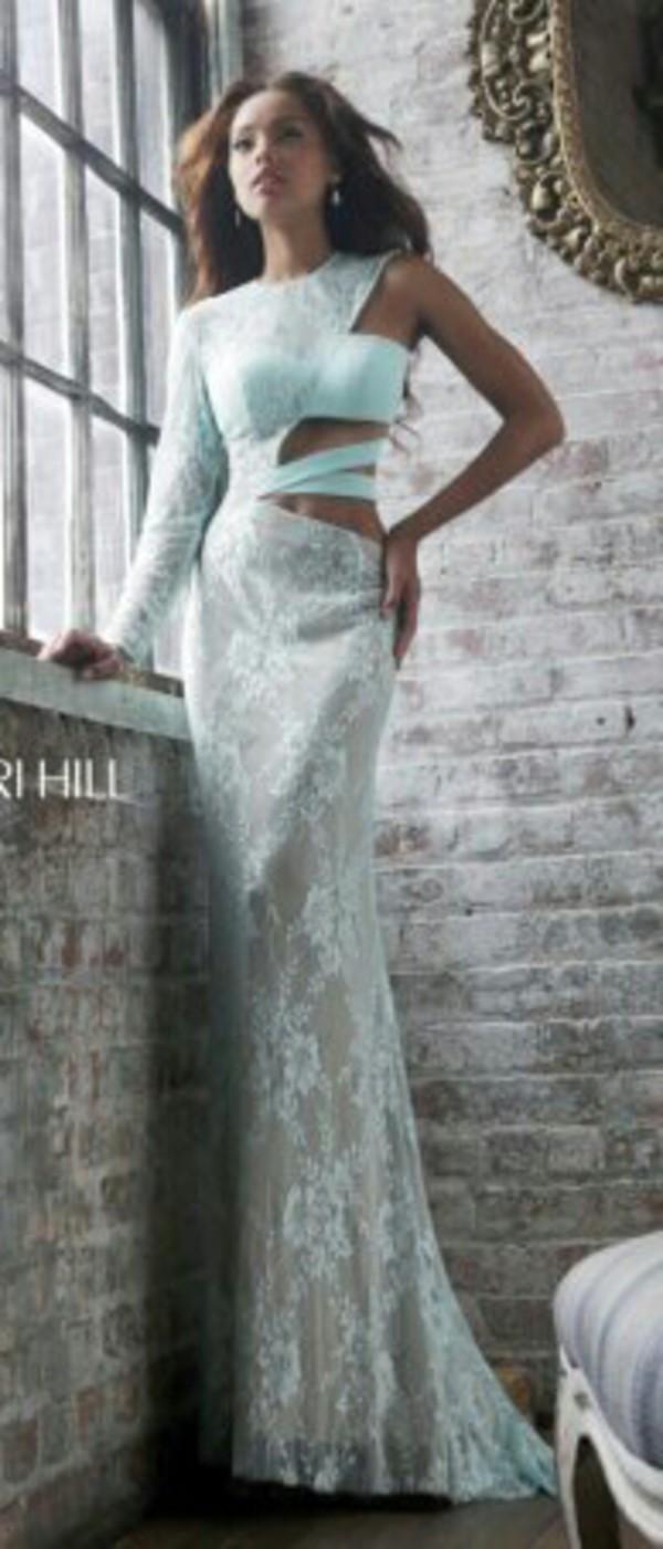 white dress prom dress lace dress cut-out one sleeve dress long prom dress