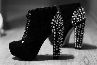 shoes black boots wedges black heels studs spikes and studs style tumblr outfit high heels black high heel boots black shoes