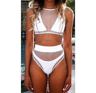 swimwear white bikini net mesh white bikini