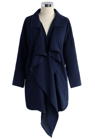coat wavy waterfall trench coat in navy chicwish trench coat navy coat waterfall coat