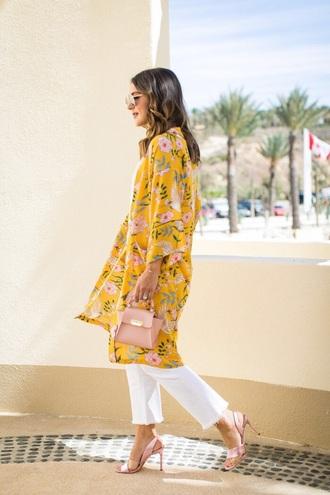 coat kimono floral floral kimono yellow white jeans pink heels sandals bag jeans heel