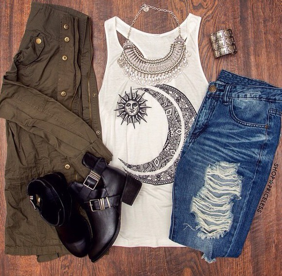 jewels necklace shirt jeans boots t-shirt top white ripped jeans jacket fall outfits outfit cut out ankle boots