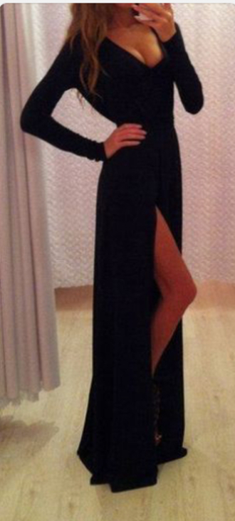 dress black slit dress