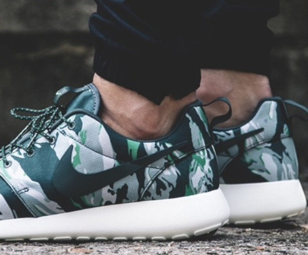 save off 1e946 84742 shoes camouflage camouflage green black grey white print pattern nike roshe  run nike run running trainers
