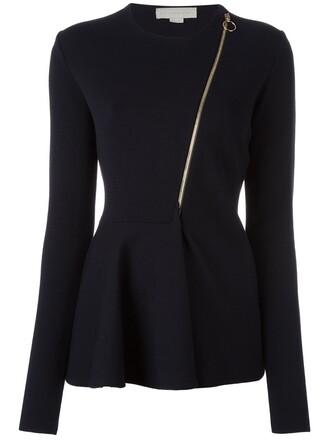 top knitted top zip women spandex blue wool
